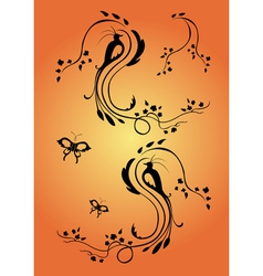 floral swirl element vector image