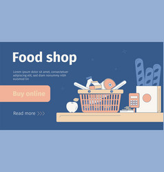 Food shop banner vector