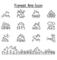 forest fire wildfire icons set in thin line style vector image