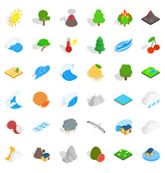 Forest plantation icons set isometric style vector
