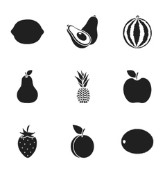 Fruits set icons in black style Big collection of vector image