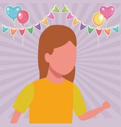 Girl running cartoon birthdays party vector