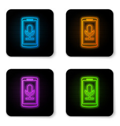 glowing neon mobile recording icon isolated on vector image