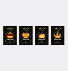 gold crown posters set vector image