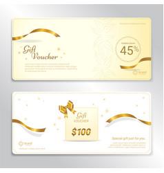 Gold glitter gift voucher certificate coupon vector