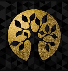 Gold glitter tree life concept symbol art vector