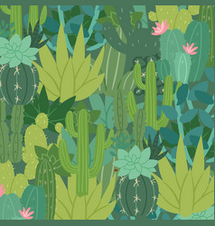 green pattern with succulents and cactuses vector image