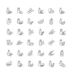 Hair oils pixel perfect linear icons set avocado vector