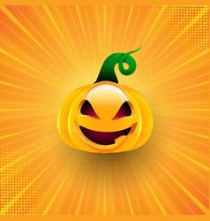Halloween background with pumpkin on starburst vector