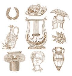 Hand drawn greece icon set vector