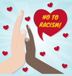 Hands of different races palm to palm red hearts vector