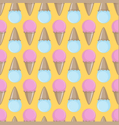 Ice cream cone seamless pink yellow blue pattern vector