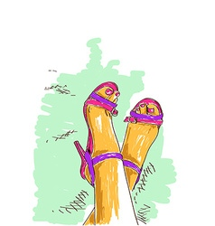 Legs of woman in fashion shoes vector