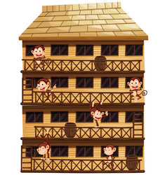 monkeys on different floors of the house vector image