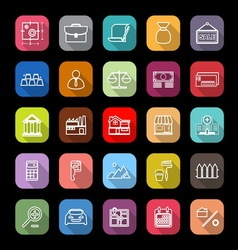 Mortgage and home loan line icons with long shadow vector