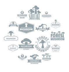 mushroom forest logo icons set simple style vector image