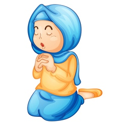 Muslim girl praying vector