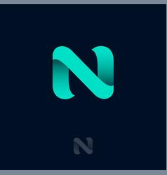 n logo azure ribbon origami monogram ui web vector image