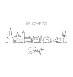 one continuous line drawing delft city skyline vector image