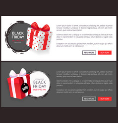 Packages special adverts on black friday gifts vector