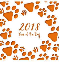 Paper cut dog footprints happy chinese new year vector