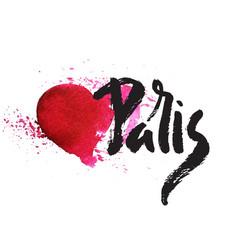 paris inscription with heart vector image