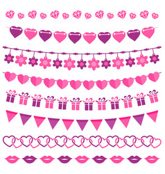pink garland set isolated on white vector image