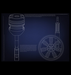 piston and wheel with shock absorber on a blue vector image