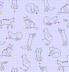 Playing cats drawing on paper in line squares vector