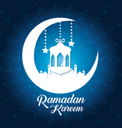 Ramadan kareem card with temple and moon vector