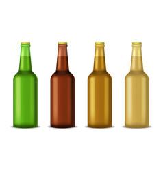 realistic detailed 3d beer bottle set vector image