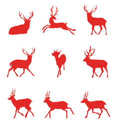 red silhouettes deer vector image