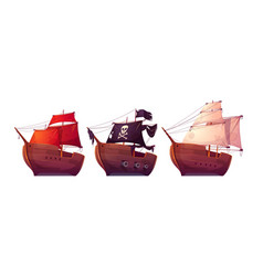 sail boats with white red and black sails vector image