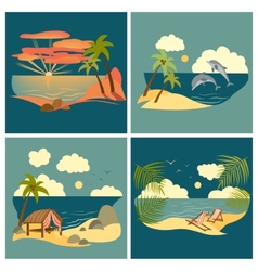 Sea landscape icons set vector