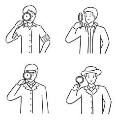 set detective vector image