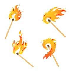 set flames vector image