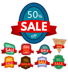 set of different nine discount stickers vector image