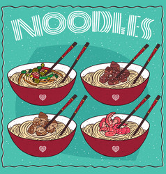 Set of four chinese noodles ramen or udon vector