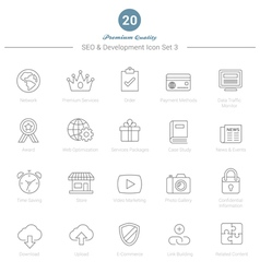 Set of Thin Line SEO and Development icons Set 3 vector