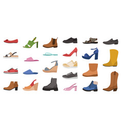 Shoes mens womens and children footwear vector