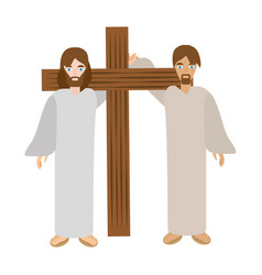 Simon help jesus carry cross- via crucis vector