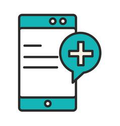 Smartphone medical application service online line vector