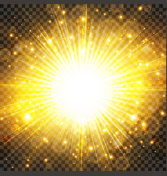 sun light and sunburst with glittering on vector image