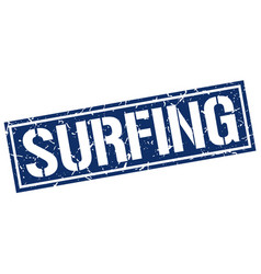 Surfing square grunge stamp vector