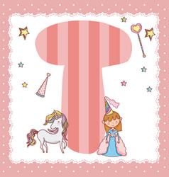 T alphabet letter for kids vector