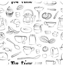 Tea time pattern vector