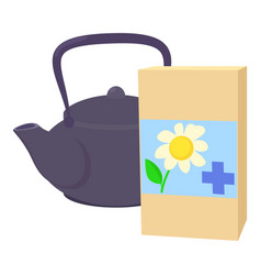 Teapot of herbal tea with chamomile icon vector