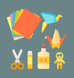 Themed kids origami creativity creation symbols vector