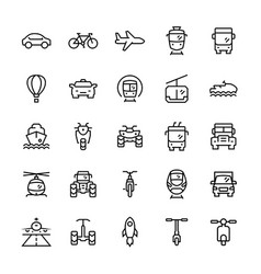 transportation icons set in thin line style vector image