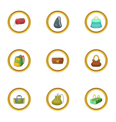 various types of bags icons set cartoon style vector image